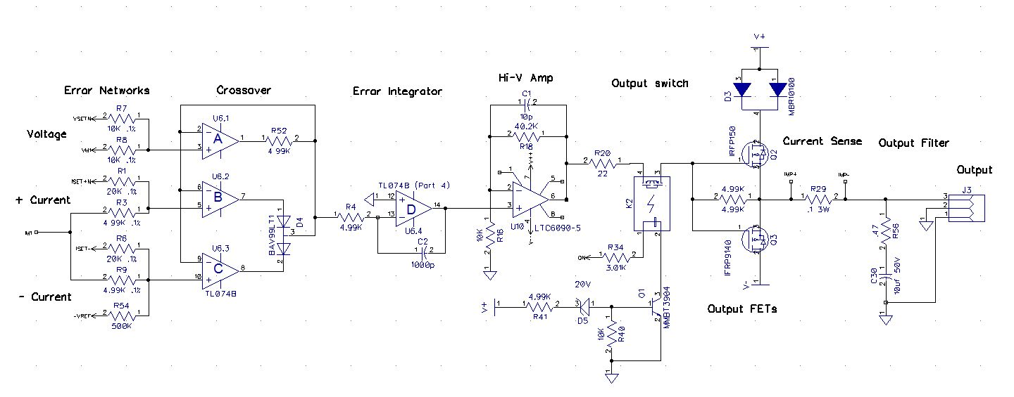 Dave Erickson Power Supply Load Ps Project Linear Mosfet Voltage Regulator Schematic Has A Nice High Opamp Ltc6090 That Accommodates Up To 140vdc And Costs About 3 Q100 Output Circuit